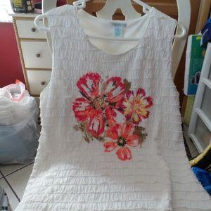 Ladies size M Laura Ashley ruffle white tank top